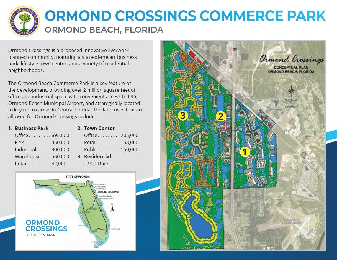First page of a two page flyer promoting Ormond Crossings Commerce Park, it has a brief paragraph describing the key features for the proposed business park, contains a list of the entitlements per square foot, has a location map of Ormond Crossings in relation to the State of Florida, and then it contains a rendering of the Ormond Crossings Conceptual Plan rendering.