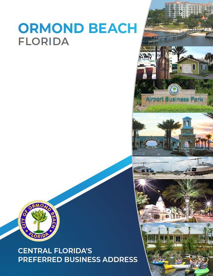 cover page to the City of Ormond Beach Econoimc Development Booklet, it contains the City name Ormon Opens in new window